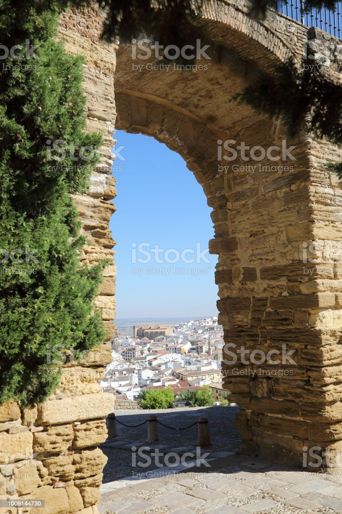 The giants gate outside La Alcazaba, Antequera - Malaga Spain stock photo
