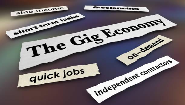 gig economy snabb jobb oberoende arbetare nyheter rubriker 3d illustration - temporär bildbanksfoton och bilder