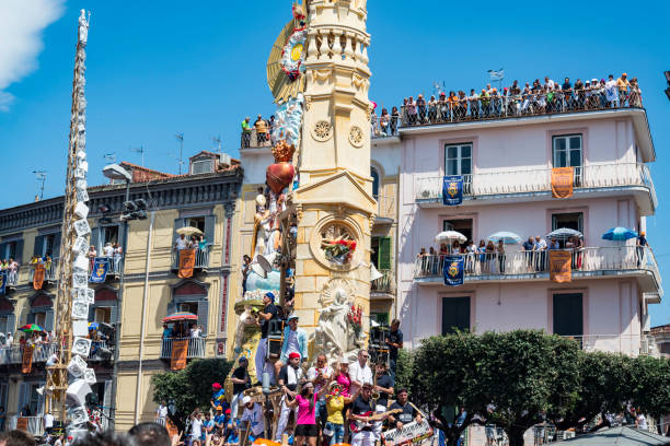 The Gigli Feast in Nola near Neaples, Italy stock photo