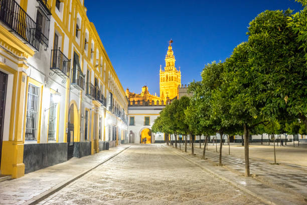 The Giralda bell tower lit up at night in Seville, Spain, Europe The Giralda bell tower lit up at night in Seville, Spain, Europe santa cruz seville stock pictures, royalty-free photos & images