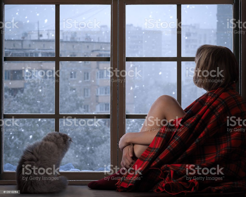 The girl and a cat sitting on the window stock photo