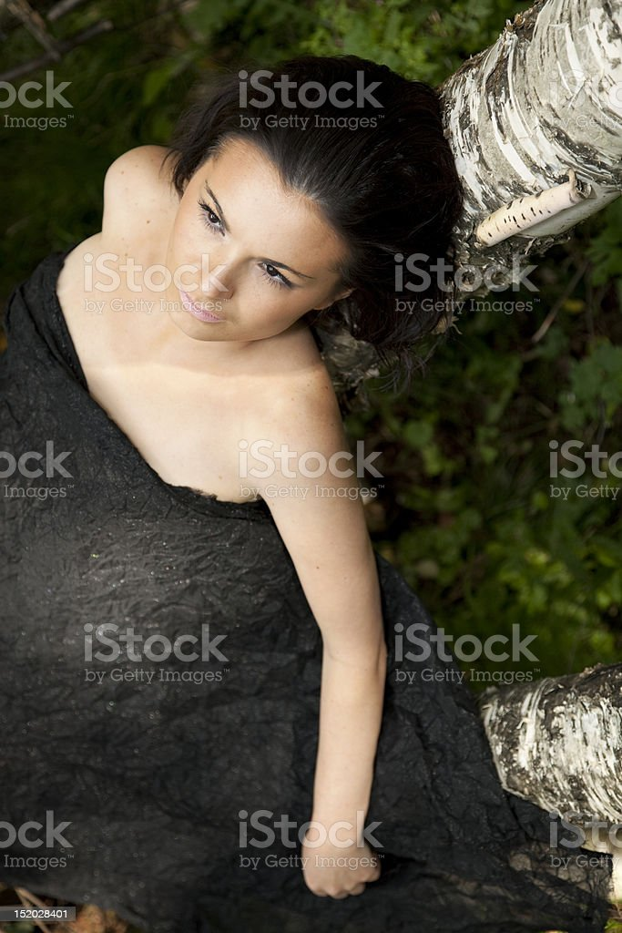 The girl at a birch stock photo