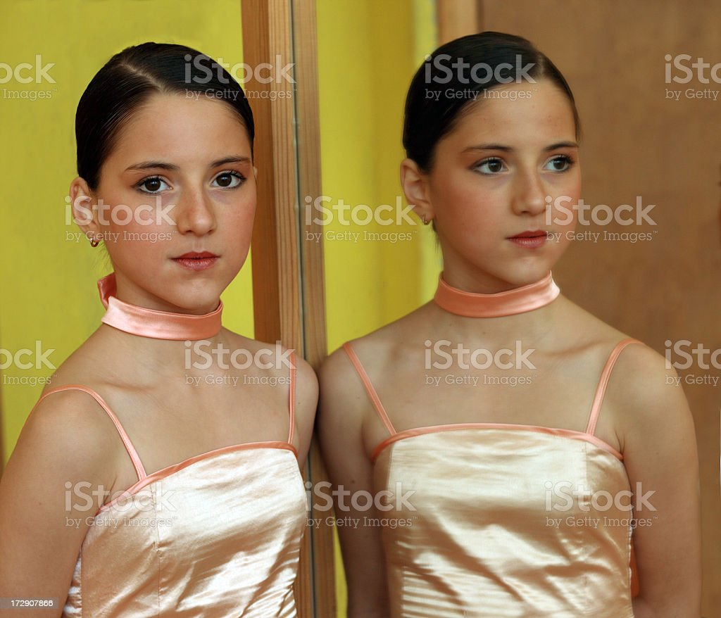 The girl at a mirror royalty-free stock photo