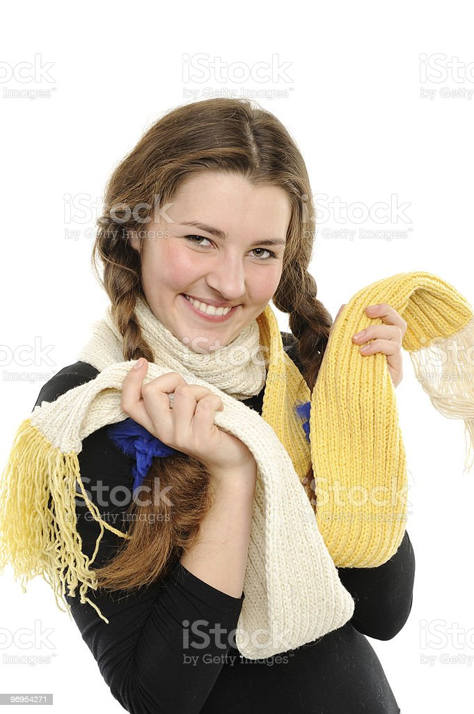 The girl Braided hair, in a winter scarf royalty-free stock photo