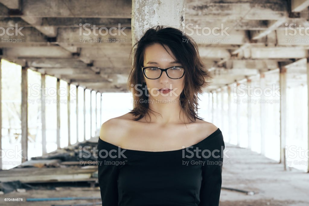 The girl cold tunnel. stock photo