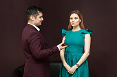 istock The girl did not like the man and his wedding ring. 1134692116