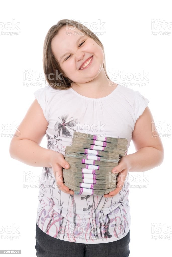 La chica tiene un lote de dinero - foto de stock