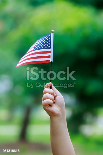istock The girl holds the US flag in her hands. Close-up. 981318616