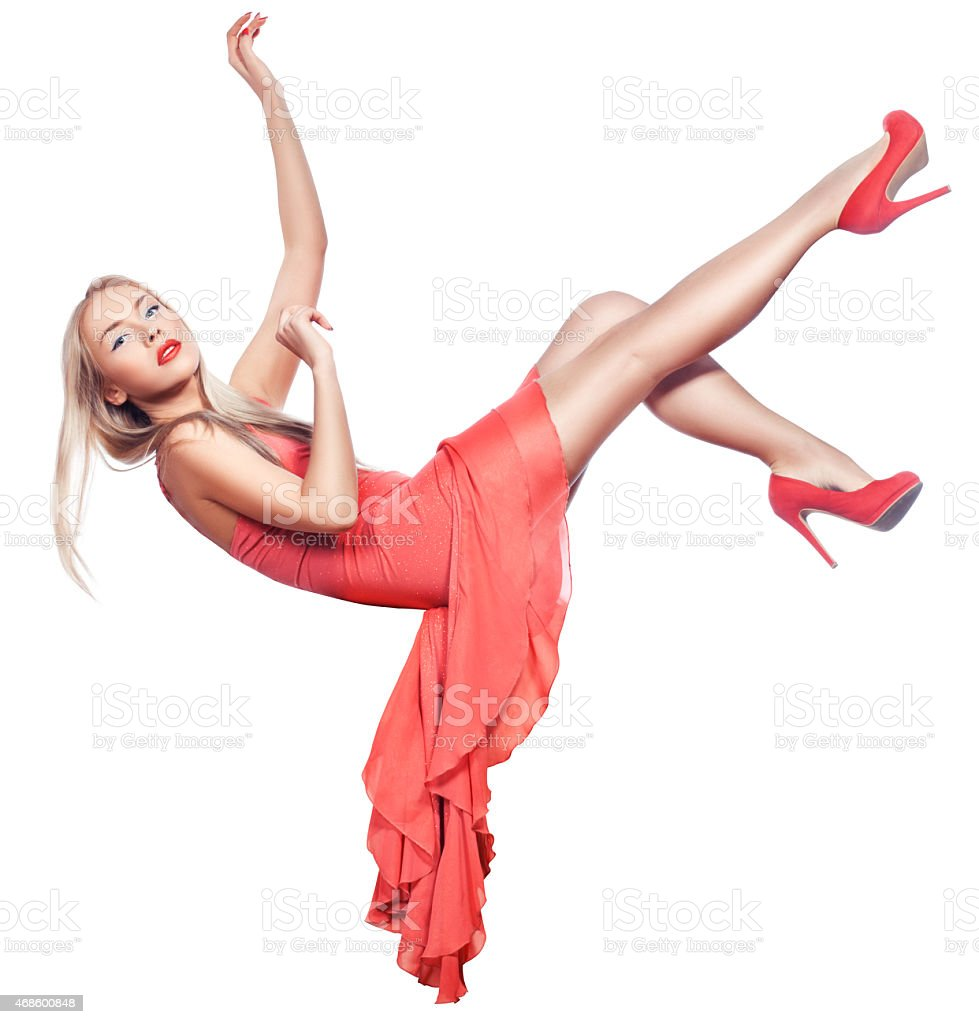 The girl hung in the air. stock photo