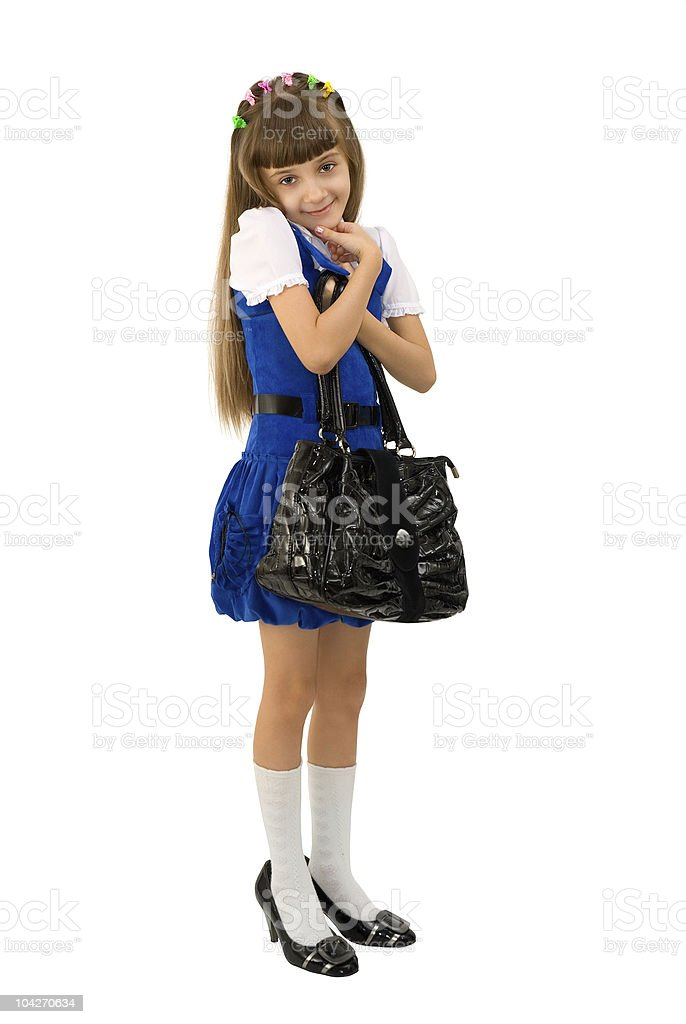 The girl in a blue dress stock photo
