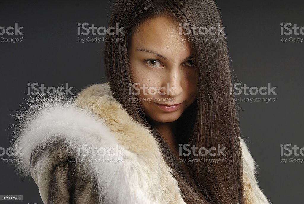The girl in a fur coat 2 royalty-free stock photo