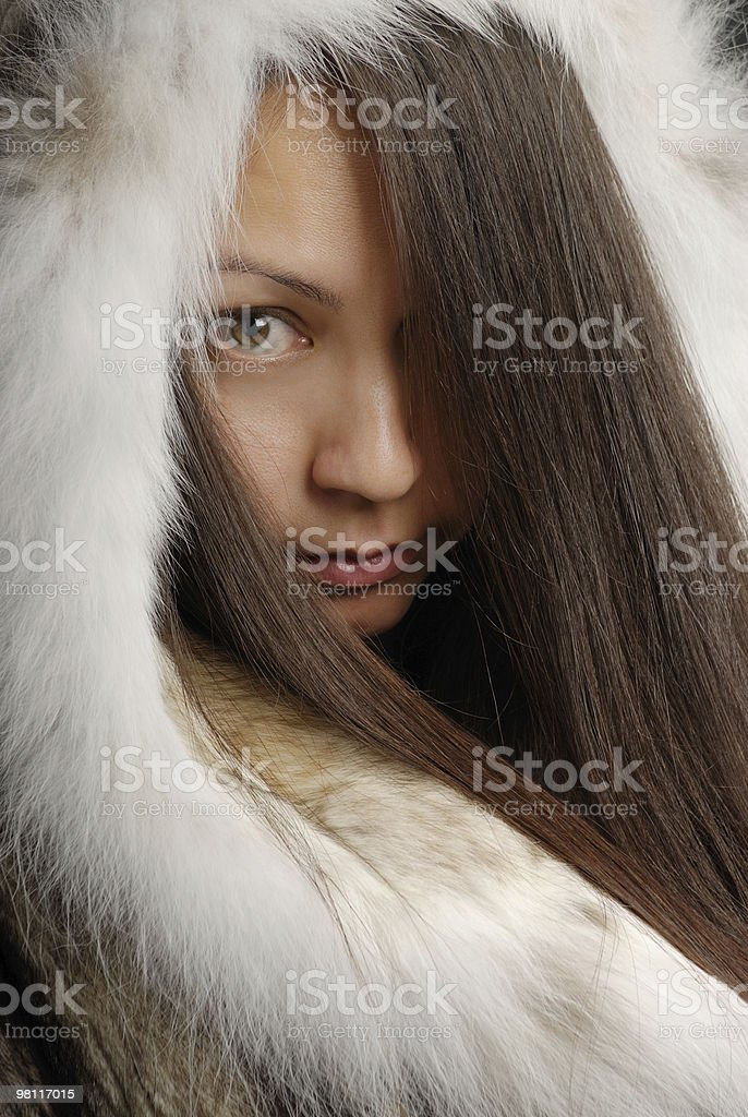 The girl in a fur coat 3 royalty-free stock photo