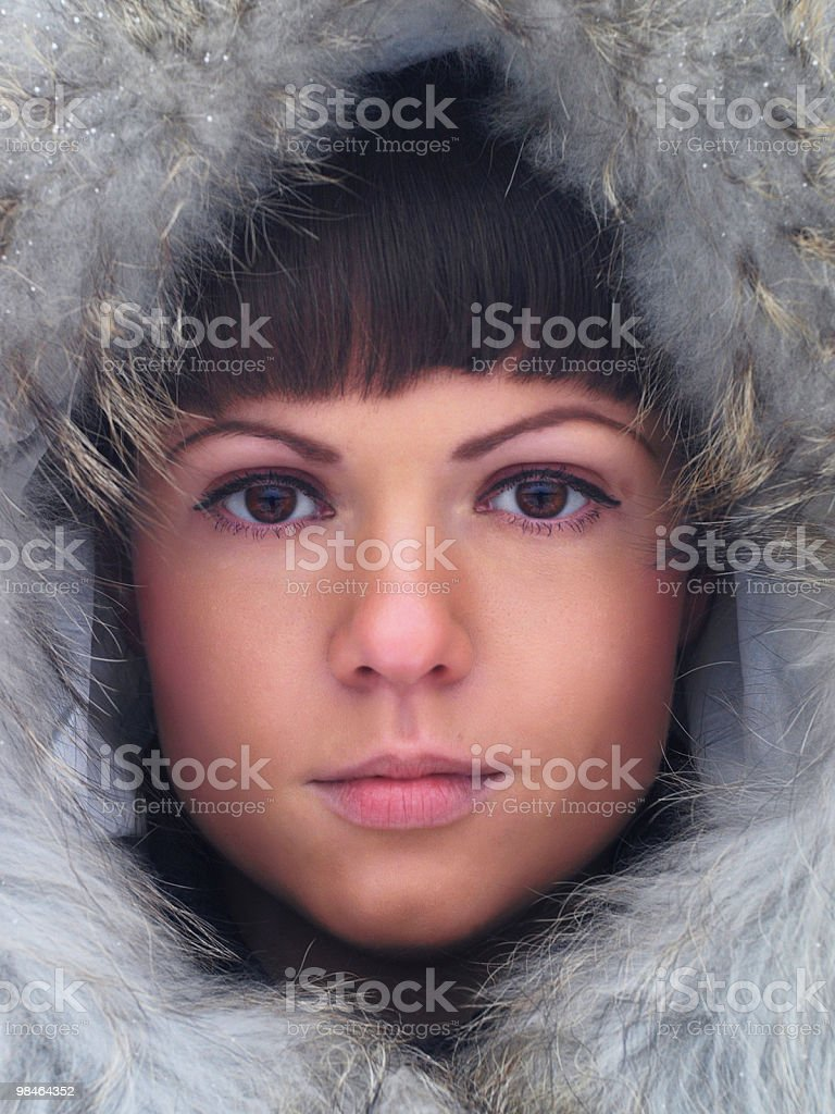 The girl in a fur hood royalty-free stock photo