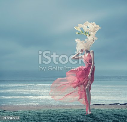 istock the girl in a red dress with the melting head 917202794