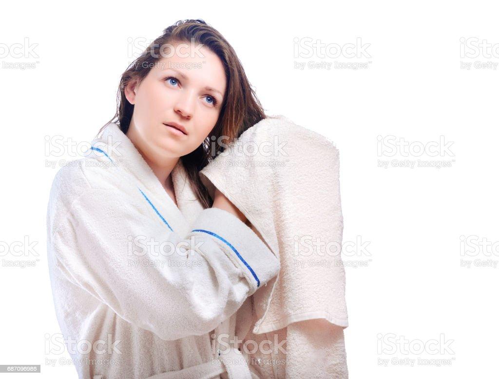Das Mädchen im Bademantel Lizenzfreies stock-foto