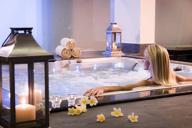 The girl in hot tub stock photo
