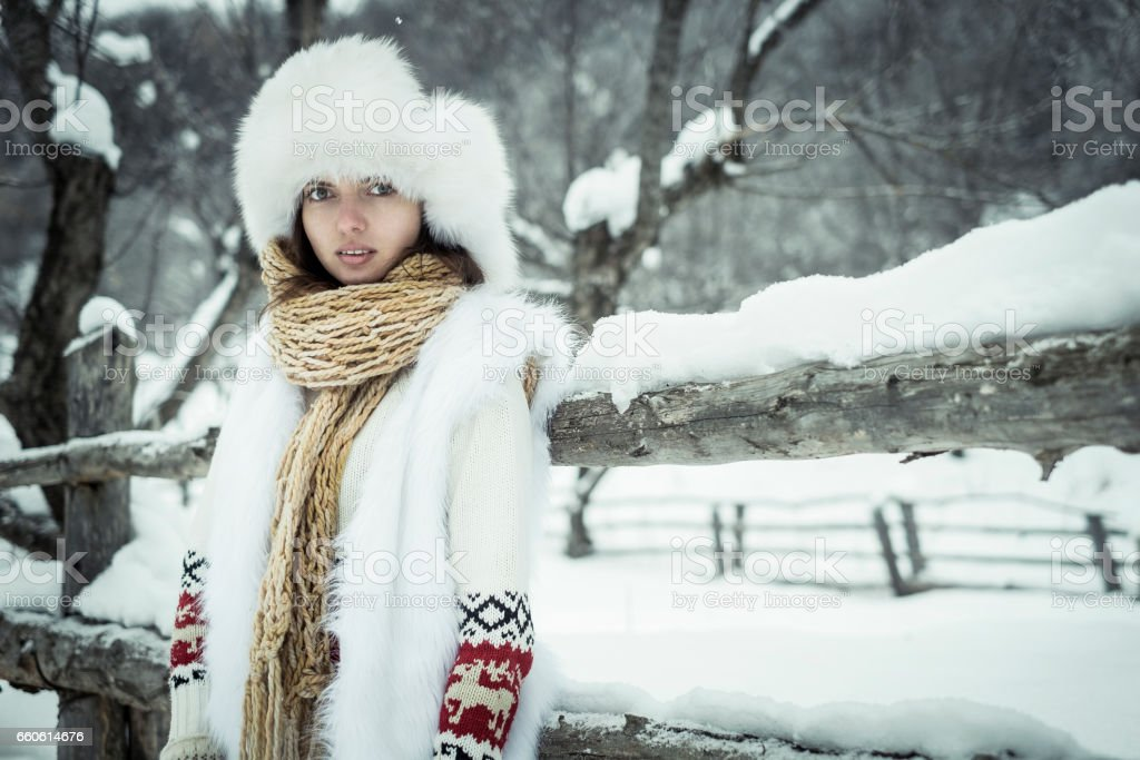 The girl in mittens royalty-free stock photo