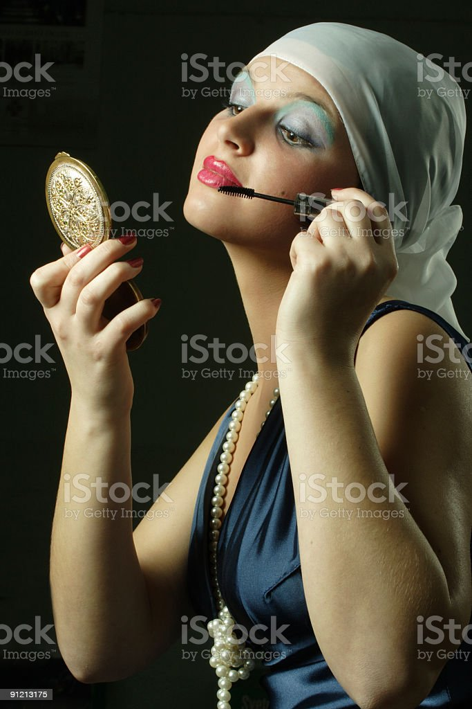The girl in style of a retro royalty-free stock photo