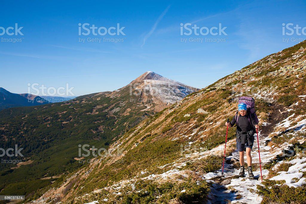 The girl in the mountains. royalty-free stock photo