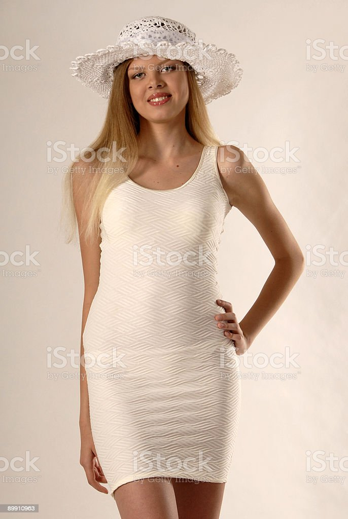 The girl in white royalty-free stock photo