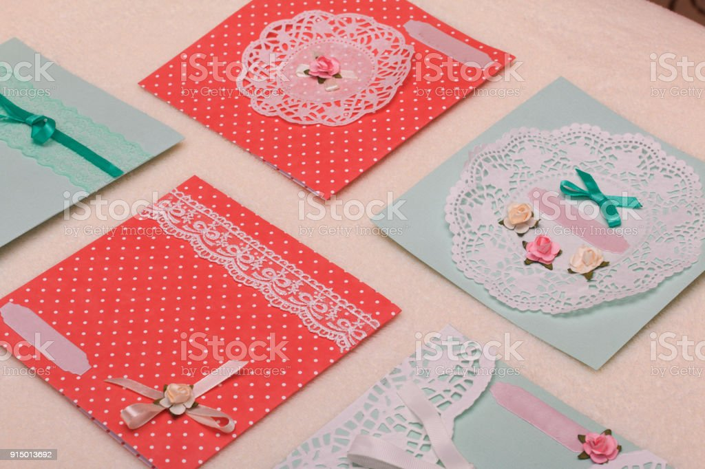 Marvelous The Girl Is Engaged In Making Greeting Cards At Home Stock Photo Funny Birthday Cards Online Inifofree Goldxyz