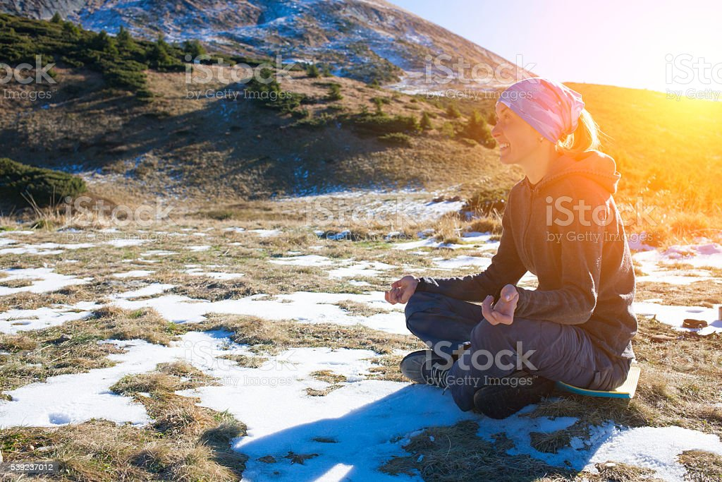 The girl is engaged in nature. royalty-free stock photo