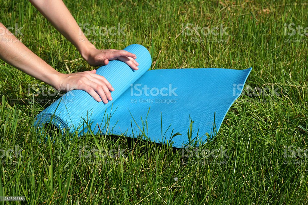 The girl is engaged in yoga stock photo