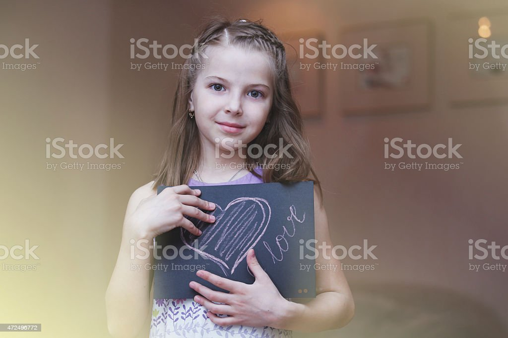 The girl is the poster child stock photo