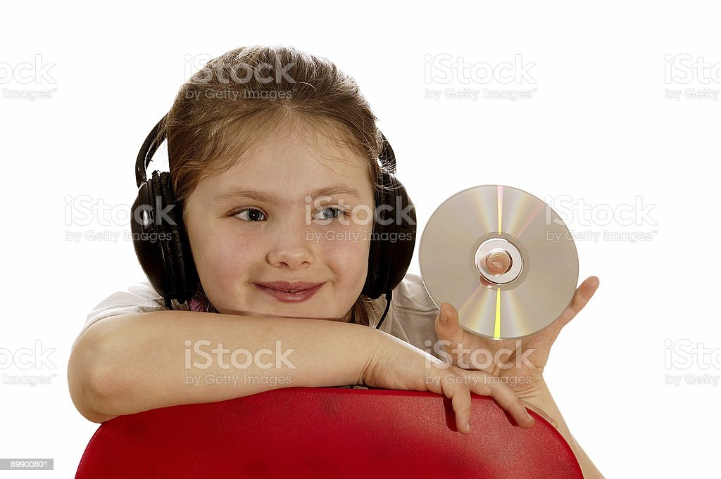 The girl listens to music II. royalty-free stock photo