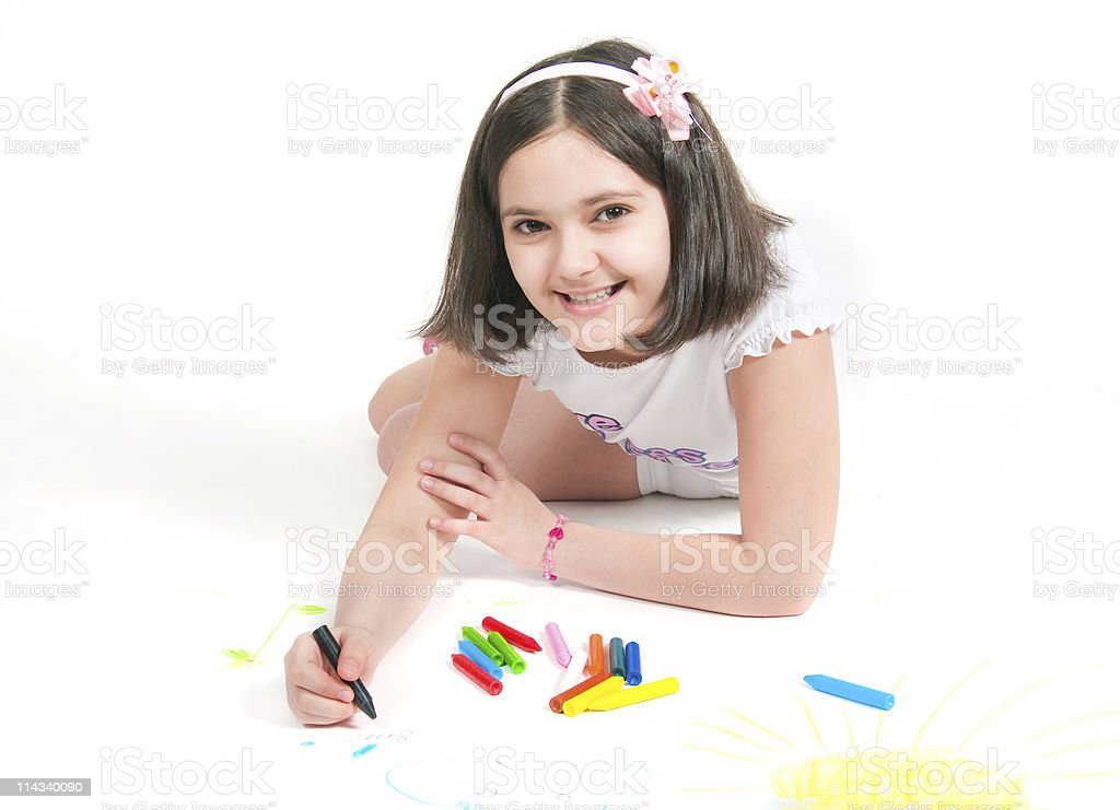 The girl lying draws white background stock photo