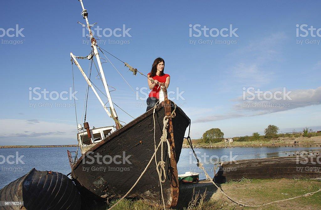 The girl on seacoast royalty-free stock photo