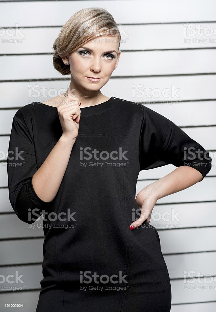 the girl poses stock photo