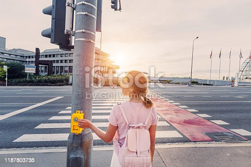 istock The girl presses the button on the traffic light to turn green and cross the road safely 1187803735