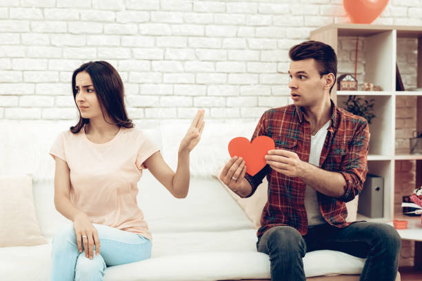 The Girl Refuses Boyfriend On Valentine's Day. stock photo