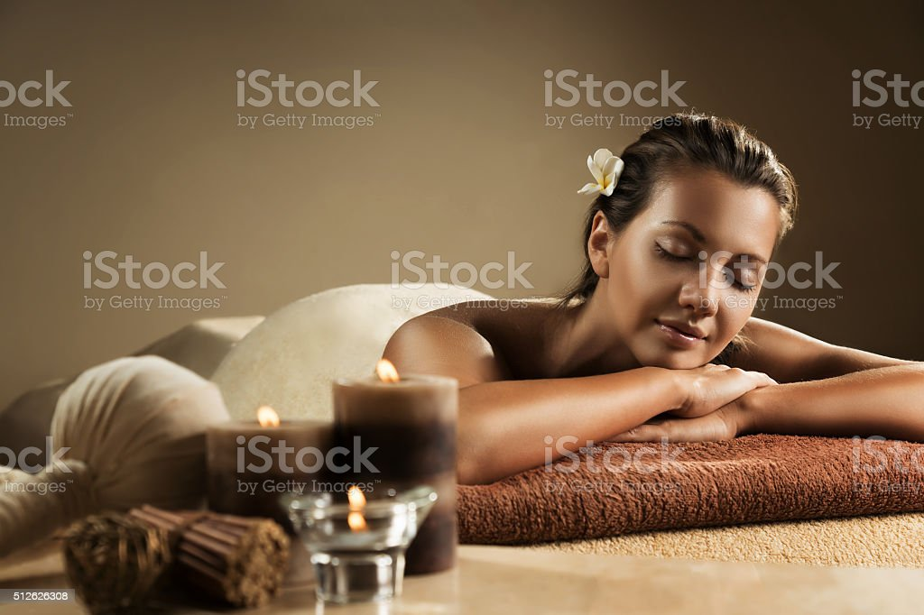The girl relaxes in the spa salon stock photo