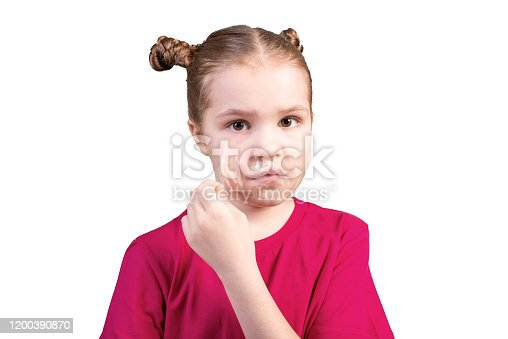 istock The girl tears off adhesive tape pasted on her mouth. Isolated on a white background. 1200390870