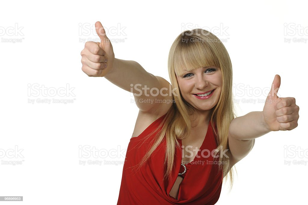 The girl thumbs up. Reaction of approval royalty-free stock photo