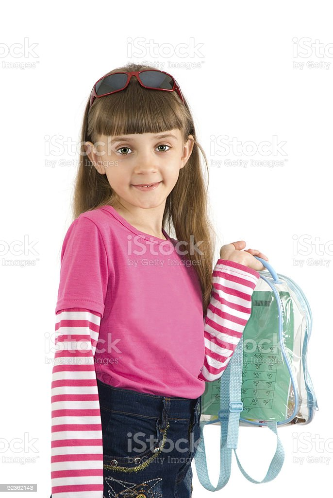 The girl with a backpack royalty-free stock photo