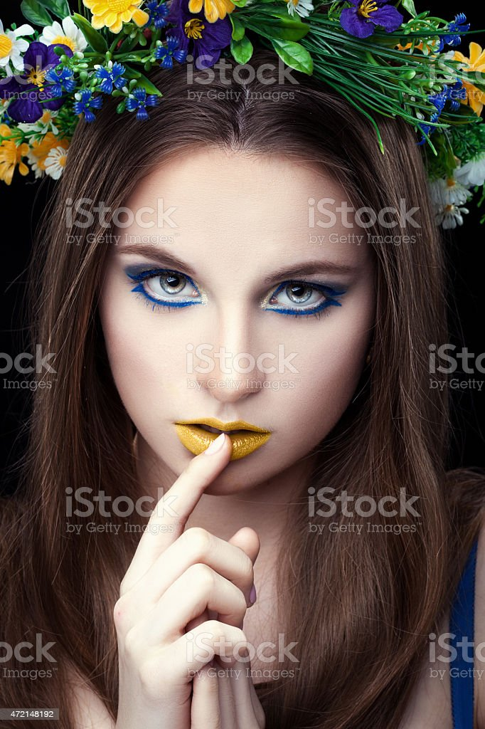 The girl with a finger. stock photo
