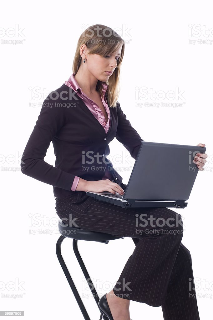 The girl with a laptop royalty-free stock photo