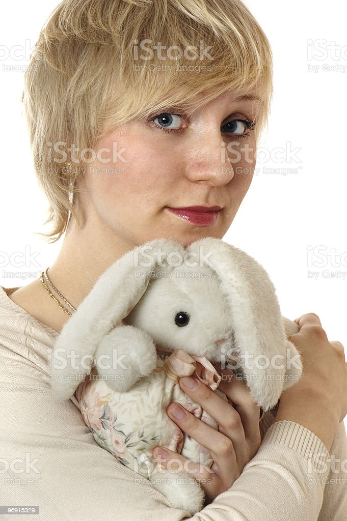 The girl with a rag hare royalty-free stock photo