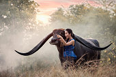 Woman with Buffalo in thailand,beautiful happy Asian girl smile and laugh together,Happy rural girl smiling in field,