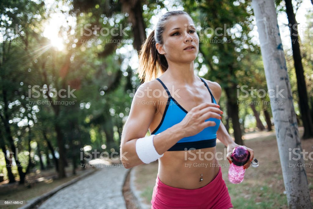 The girl with killing abs foto stock royalty-free