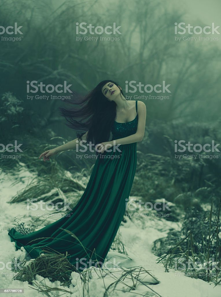 The girl with long hair stock photo