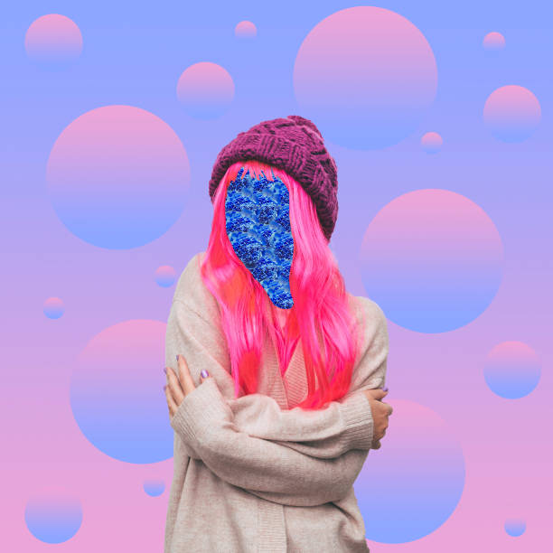the girl with pink hair and floral pattern instead of a face in the background of bubbles. - vaporwave foto e immagini stock