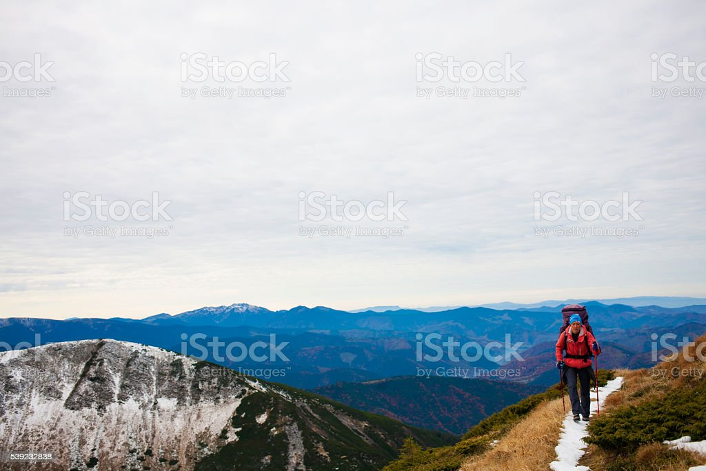 The girl with the backpack. royalty-free stock photo