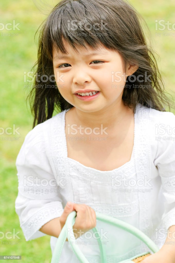 The girl with the goodie bags stock photo