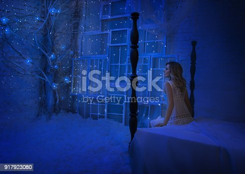 891402486 istock photo The girl woke up on Christmas night and in her room a miracle turned, magic turned her into a fairy princess. 917923080