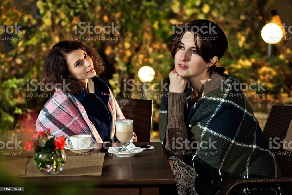 the girlfriend met in the cafe in autumn royalty-free stock photo