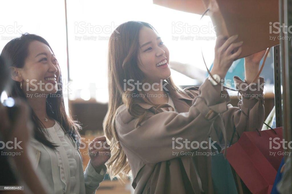 選擇包的女孩。 免版稅 stock photo